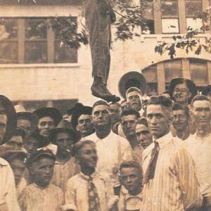 Postcard depicting the lynching of Lige Daniels, Center, Texas, USA, August 3, 1920