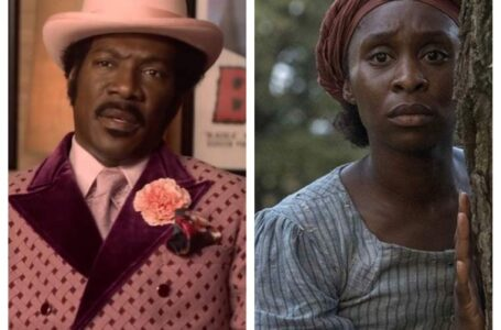 """Left: Eddie Murphy as Rudy Ray Moore in """"Dolemite is my Name."""" Right: Cynthi Erivo in """"Harriet."""""""