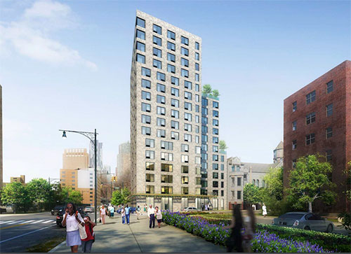 Rendering of Stonewall, an LGBTQ-welcoming affordable housing project in Fort Greene, Brooklyn. COURTESY OF BFC