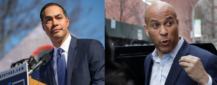 Julian Castro, left, Corey Booker, right.